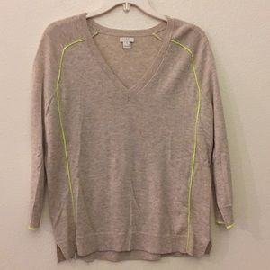 Taupe v neck 3/4 sleeve sweater with citron piping